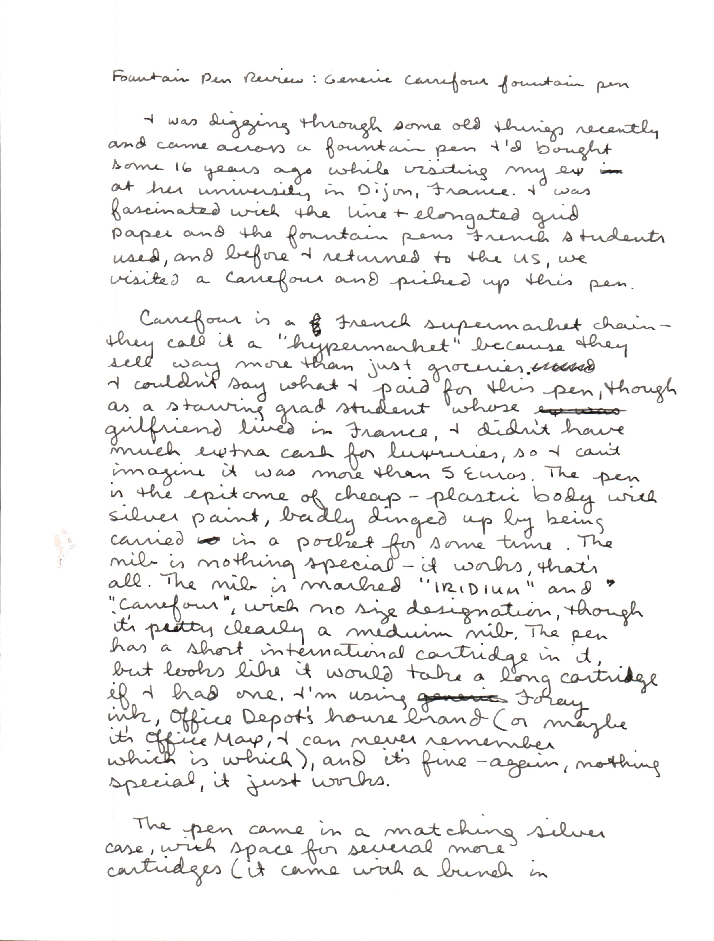Carrefour handwritten review