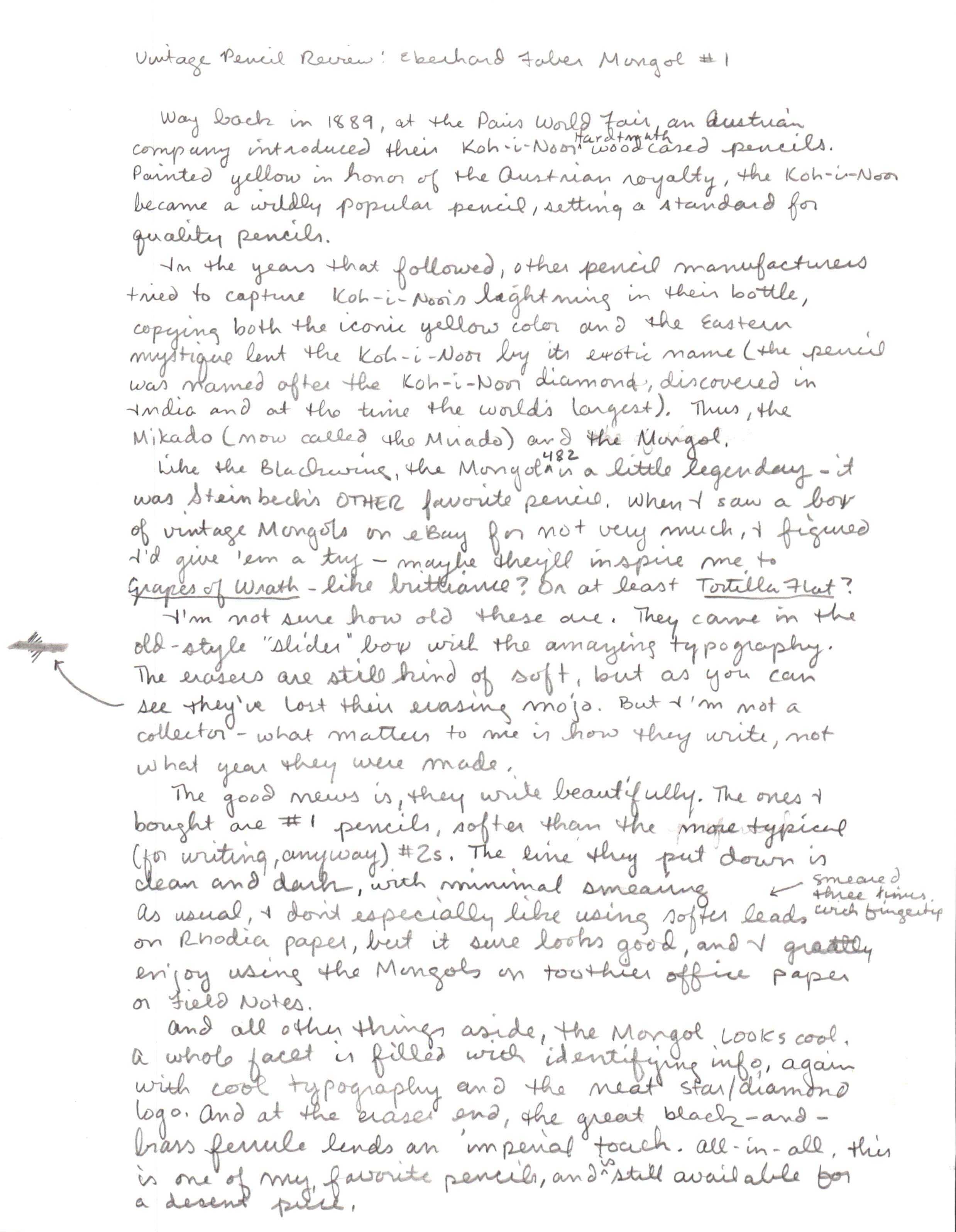 Vintage Eberhard-Faber Mongol 482 #1 - Handwritten review