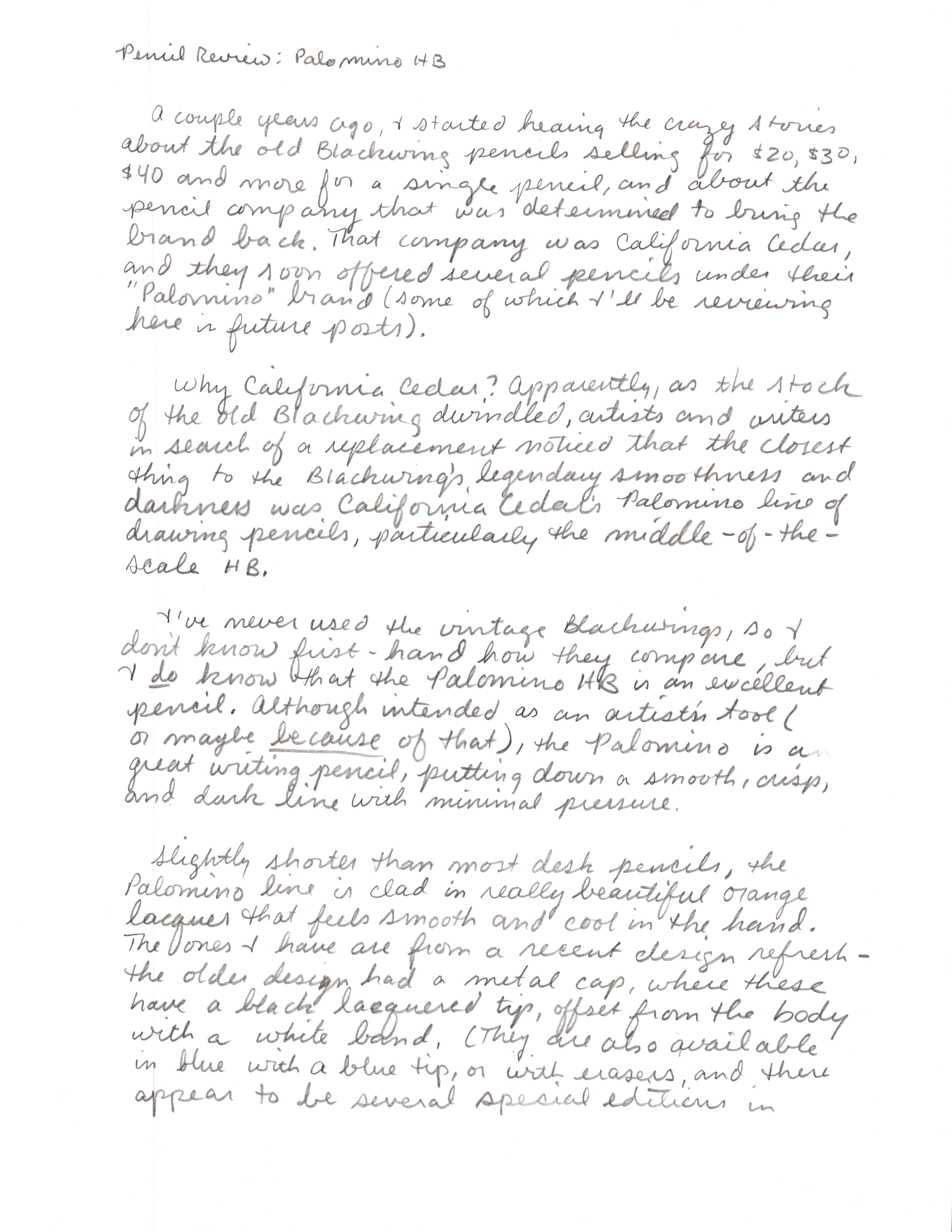 Palomino HB - Handwritten Review